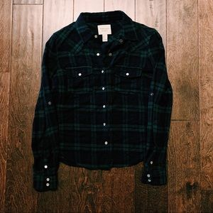 Navy Blue and Green plaid snap down